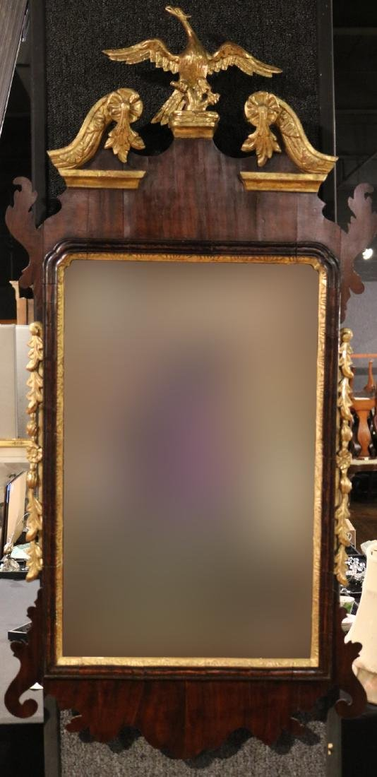 Chippendale Scroll Top Mahogany Mirror