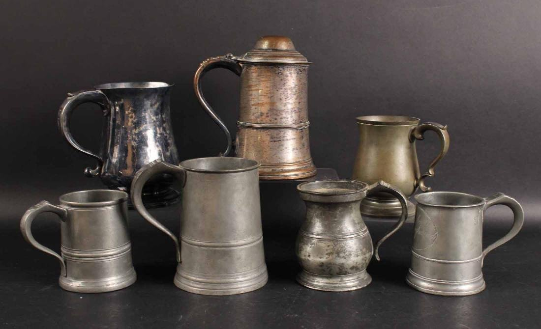 Five Pewter Tankards and Canns