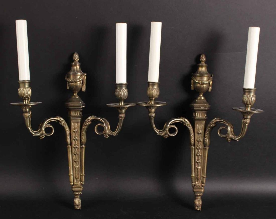 Pair of George III Style Brass Wall Sconces