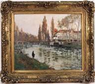 Oil on Canvas, Man Fishing, Paul Emile Lecomte