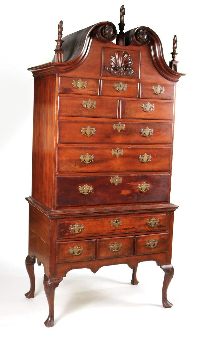 Queen Anne Carved Walnut High Chest of Drawers