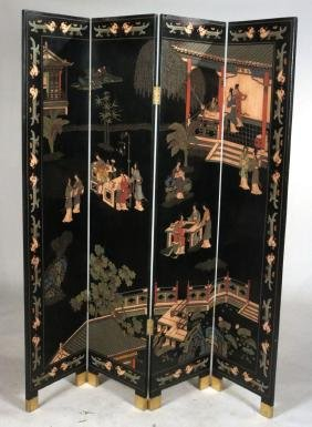Chinese Coromandel Four Panel Screen