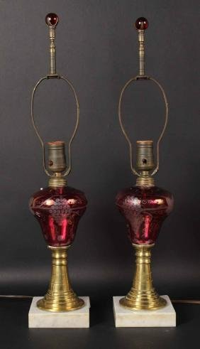 Pair of Etched Cranberry Glass Fluid Lamps