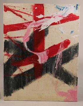 Acrylic on Burlap, Red and White Abstract