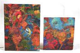 Two Oil on Board Abstracts, Simon Carr