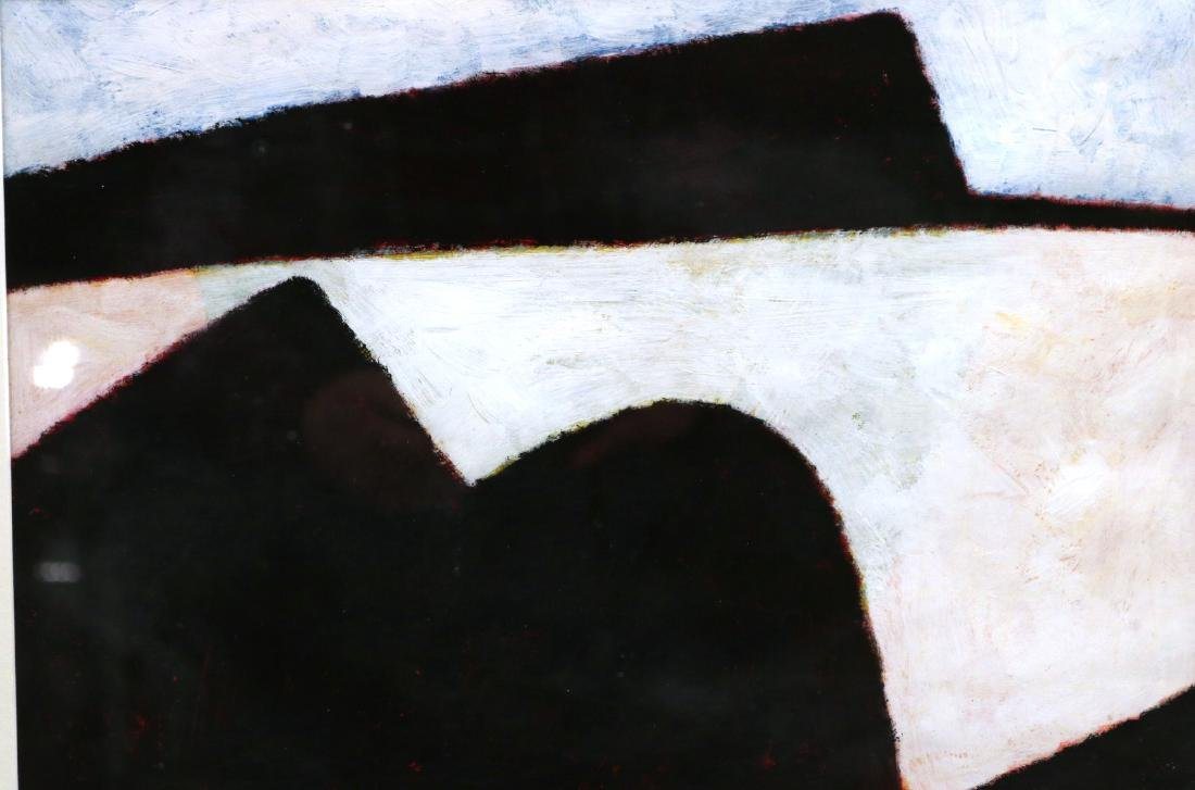 Oil on Paper, Abstract in Black and White - 2