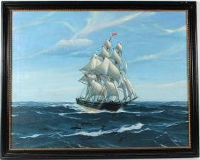 Oil on Canvas Maritime Painting, Hunter Wood