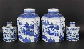 Four Canton Porcelain Chinese Export Tea Caddys