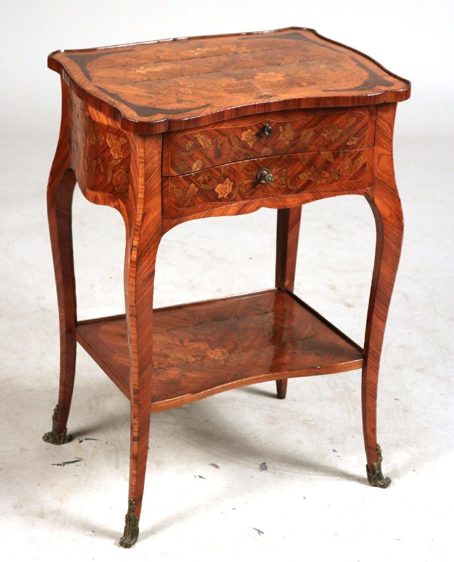Louis XV Marquetry Inlaid Side Table