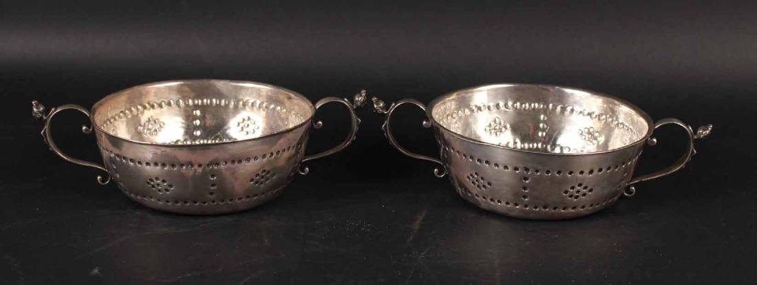Pair of Silver Double Handled Bowls
