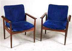 Pair of Finn Juhl France Sons Teak Lounge Chairs