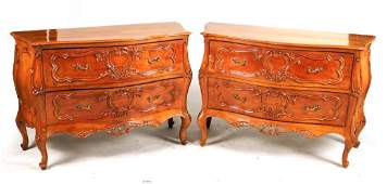 Pair of Louis XV Style Walnut Bombe Chests