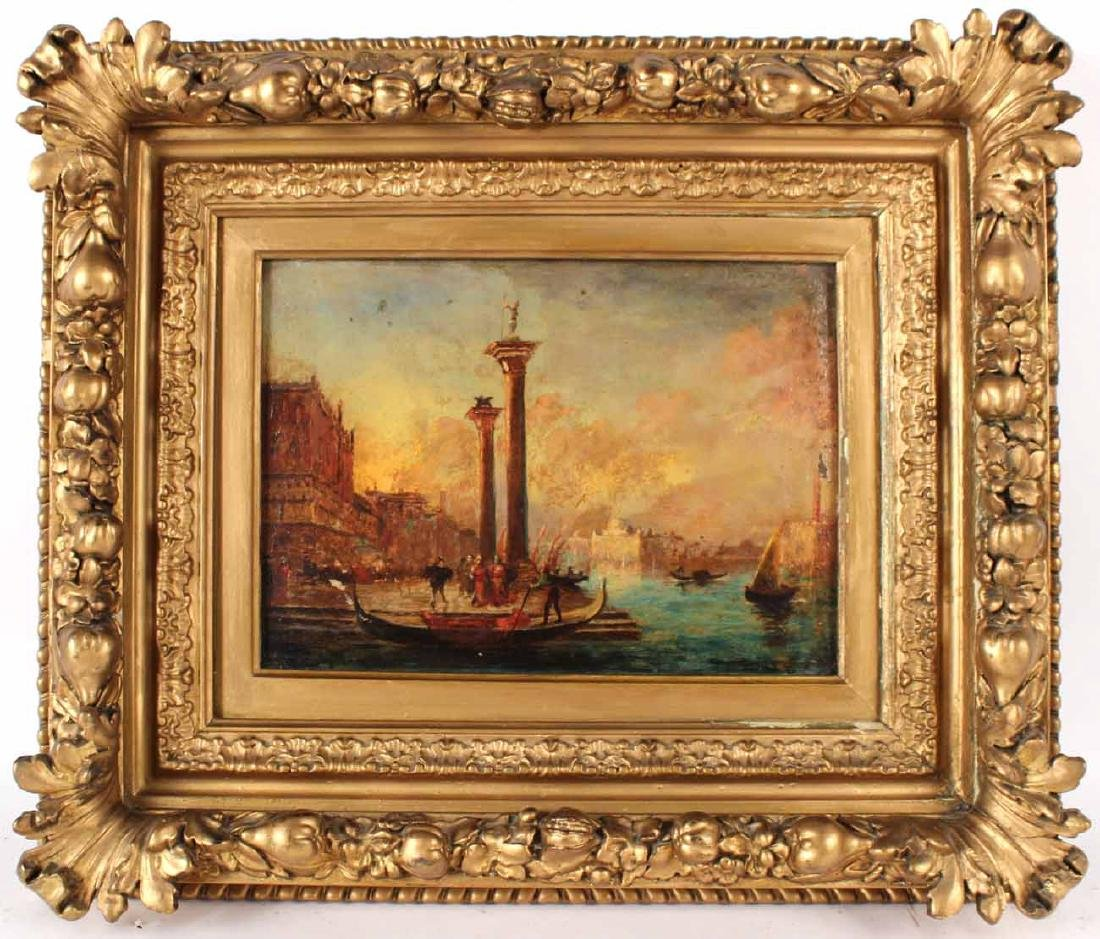 Oil on Panel, Venetian Canal Scene
