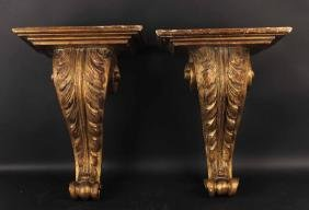 Pair of Carved Wood Wall Brackets