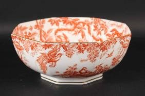 Royal Crown Derby Red Aves Octagonal Bowl