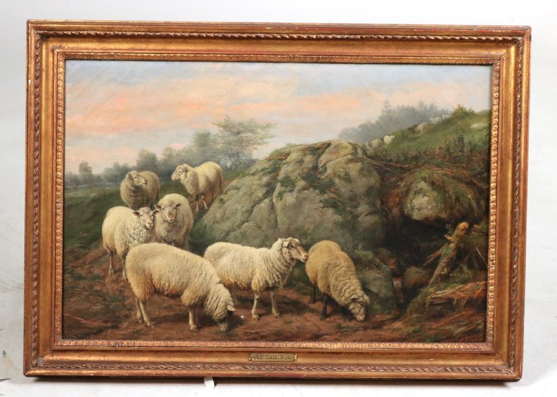 Oil on Canvas, Sheep in a Field, Arthur F. Tait