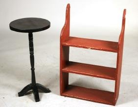 Red Painted Wooden Hanging Shelf