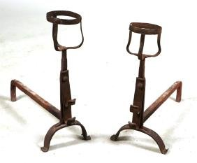 Pair of Baroque Style Wrought-Iron Andirons