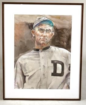 Watercolor, Ty Cobb, Lance Richbourg