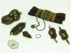 VICTORIAN 12K/14K GOLD MOURNING JEWELRY LOT