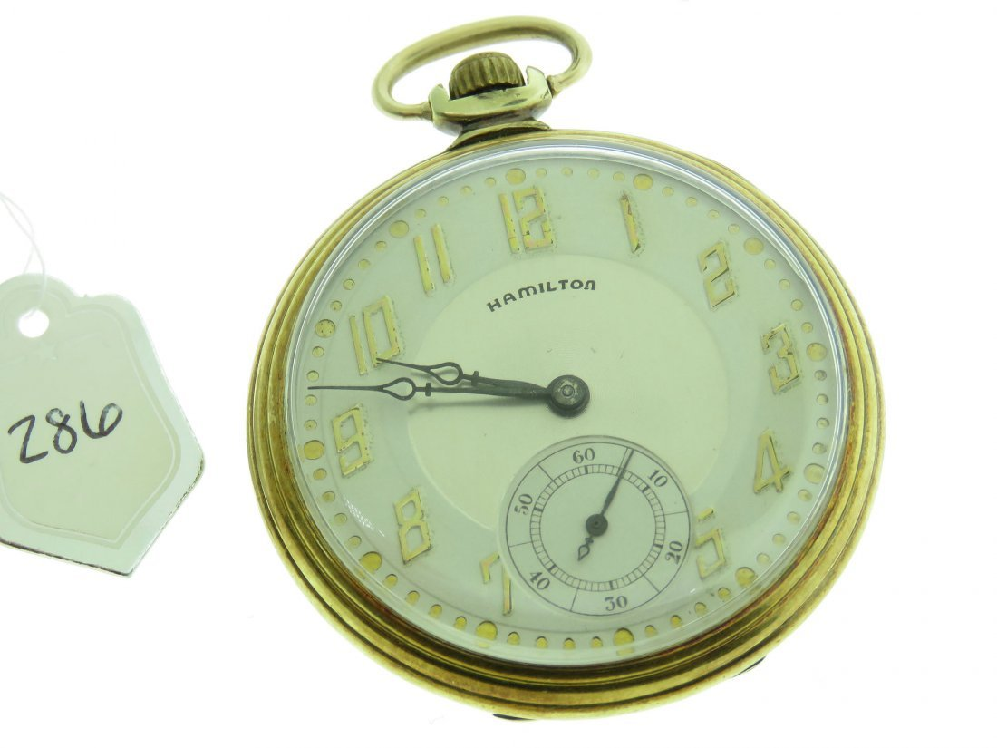 VINTAGE HAMILTON POCKET WATCH, 14K GF, 17 JEWELS