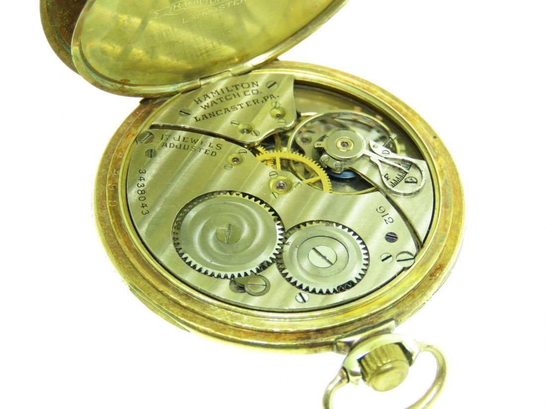 VINTAGE HAMILTON POCKET WATCH, 14K GF, 17 JEWELS - 4