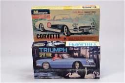 Duo of Plastic Car Kits comprising Monogram Corvette