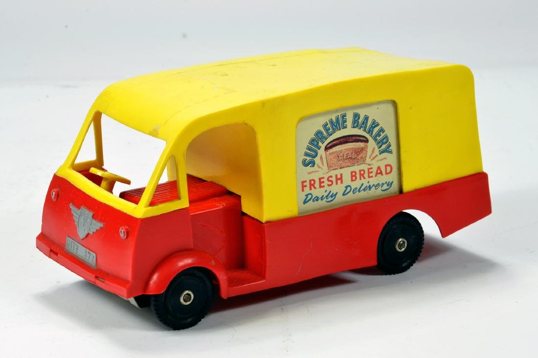 Unusual Mettoy No. 872 plastic bakers delivery van for