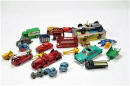 An interesting group of vintage diecast and tin toys