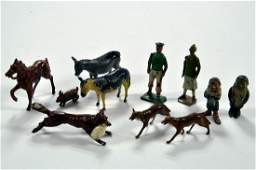 Interesting group of metal figures comprising Fox