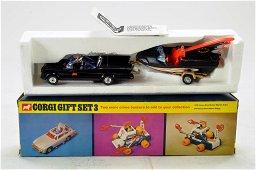 Corgi No. GS3 Batmobile & Batboat on Trailer Set.