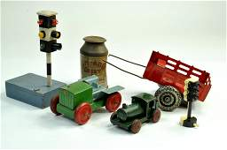 Vintage toy group including rare traffic lights and