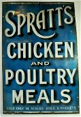 An original Blue Spratts Antique Enamel Advertising