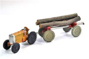 Crescent Tractor and scarce Log Trailer. Tractor is