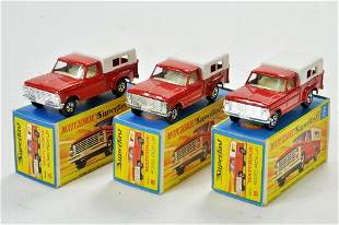 Matchbox Superfast x 3 no. 6D Ford Pick-Up with red