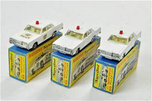 Matchbox Superfast x 3 no. 55D Mercury Police Car, with