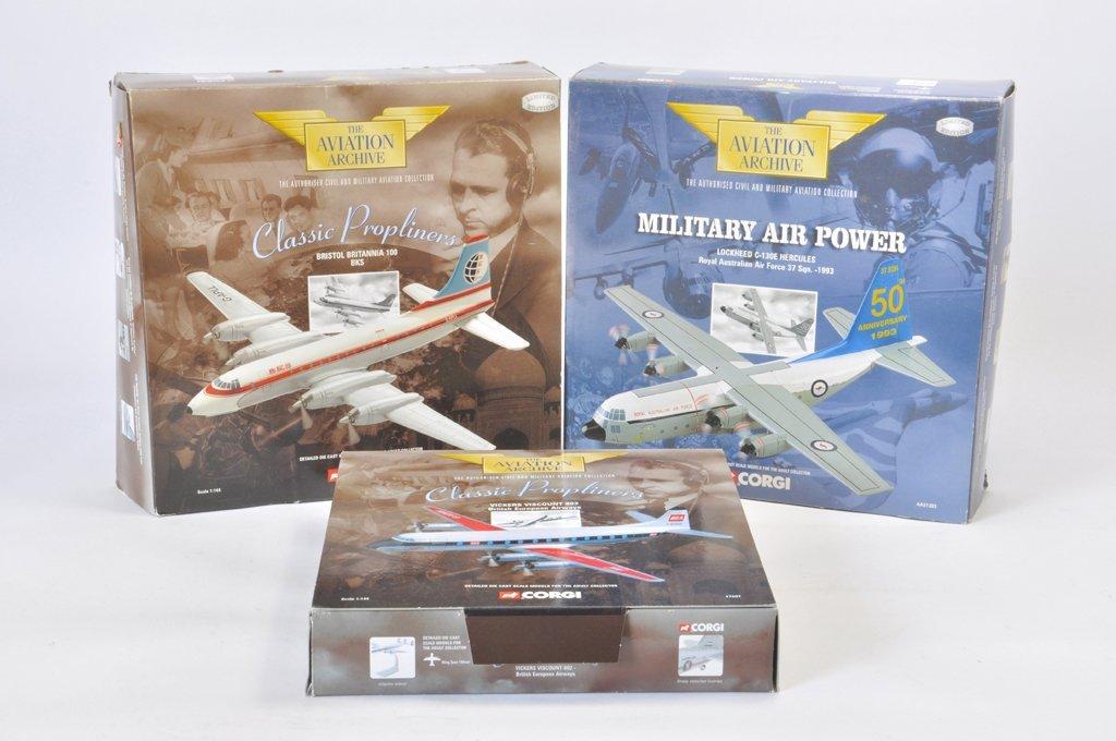 Trio of Corgi Model Aircraft Replicas. A in A / B