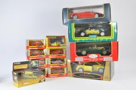 Selection Of Diecast Cars Including Burago And Others.