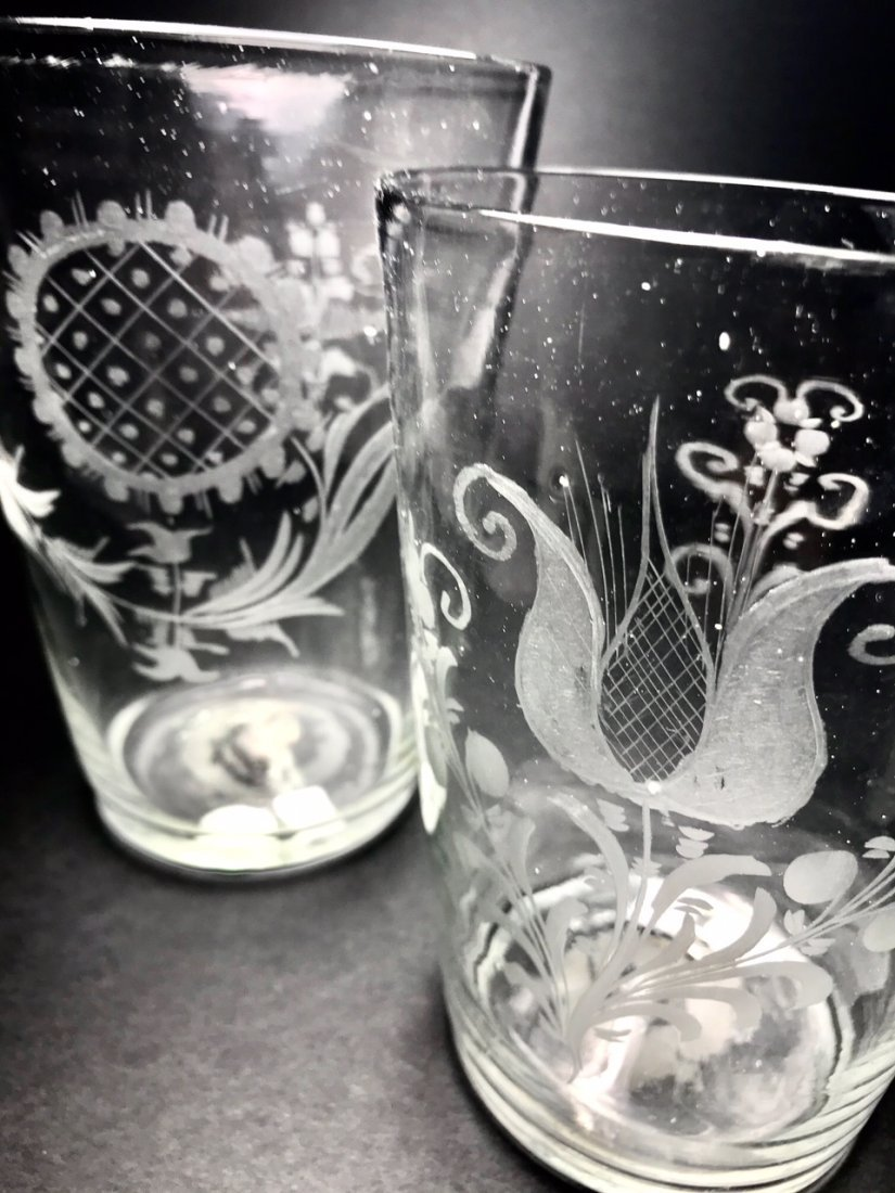 TWO LARGE ENGRAVED FLIP GLASS