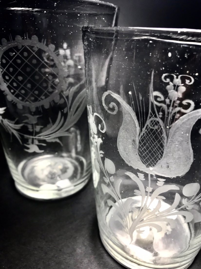 TWO LARGE ENGRAVED FLIP GLASS - 3