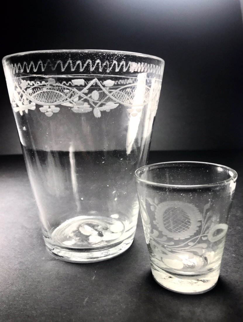 TWO ENGRAVED GLASSES - 2