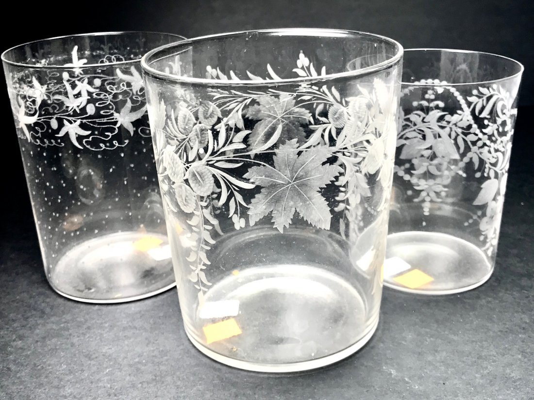 GROUP   OF THREE UNUSUAL ENGRAVED TUMBLERS
