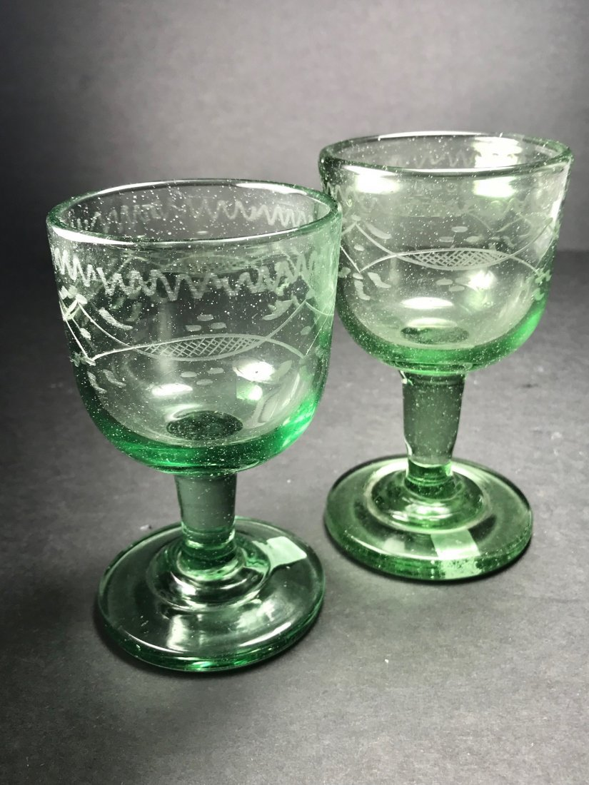 RARE MATCHING ENGRAVED BOTTLE GLASS WINES