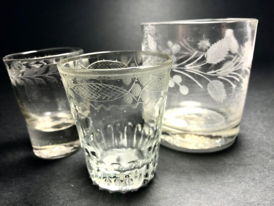 MIXED 18TH /19TH TUMBLER AND SHOT GLASS LOT