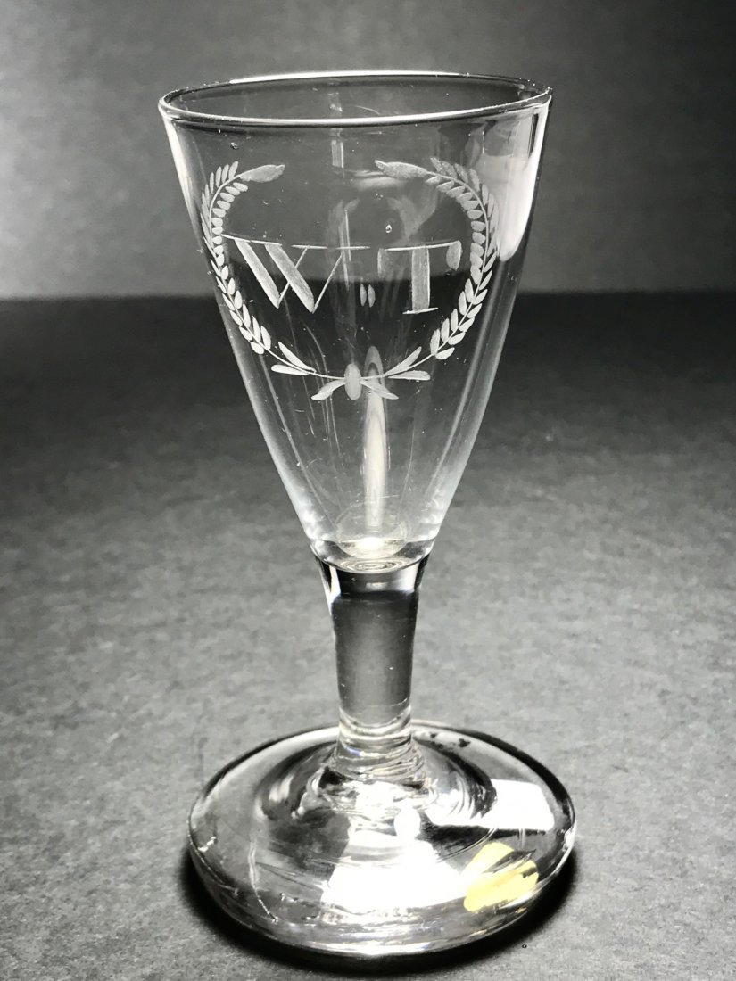 RARE 18TH CENTURY AMERICAN ENGRAVED WINE GLASS - 2
