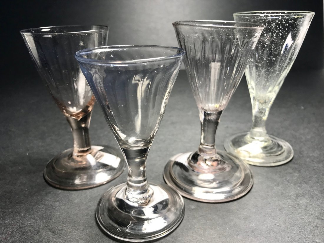 18 TH CENTURY PATTERN MOLDED  WINE GLASS LOT