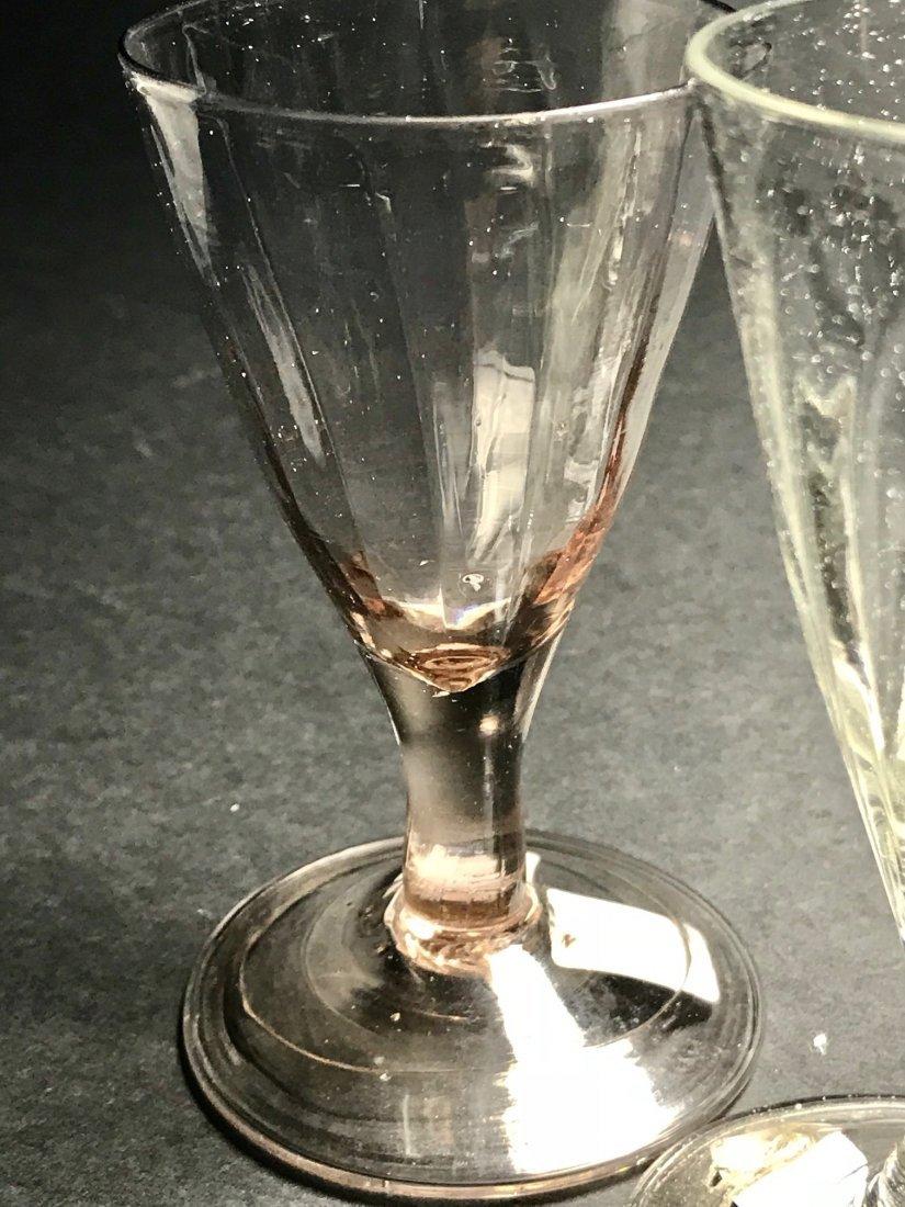 18 TH CENTURY PATTERN MOLDED  WINE GLASS LOT - 2