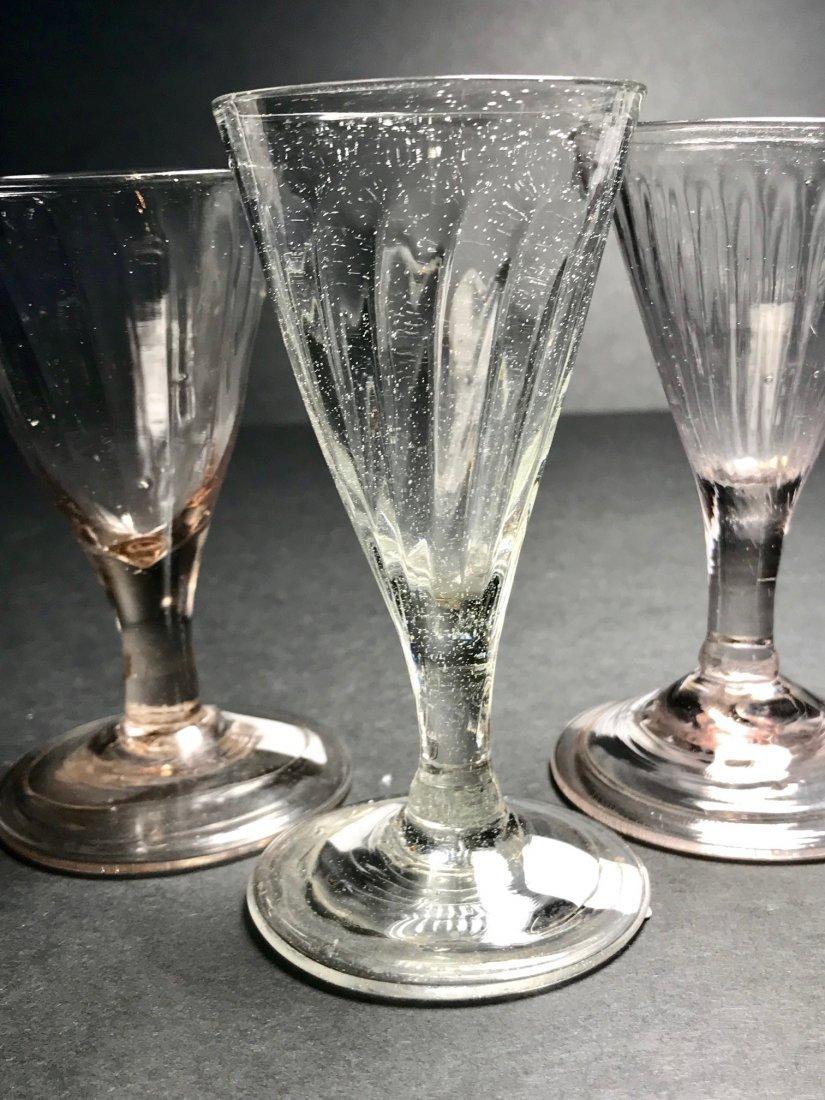18 TH CENTURY PATTERN MOLDED  WINE GLASS LOT - 3