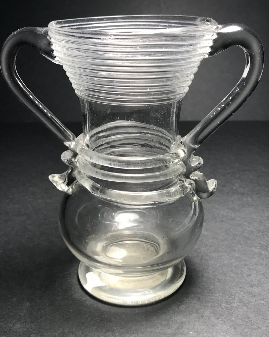 RARE COLORLESS REDFORD NEW YORK DOUBLE HANDLED VASE