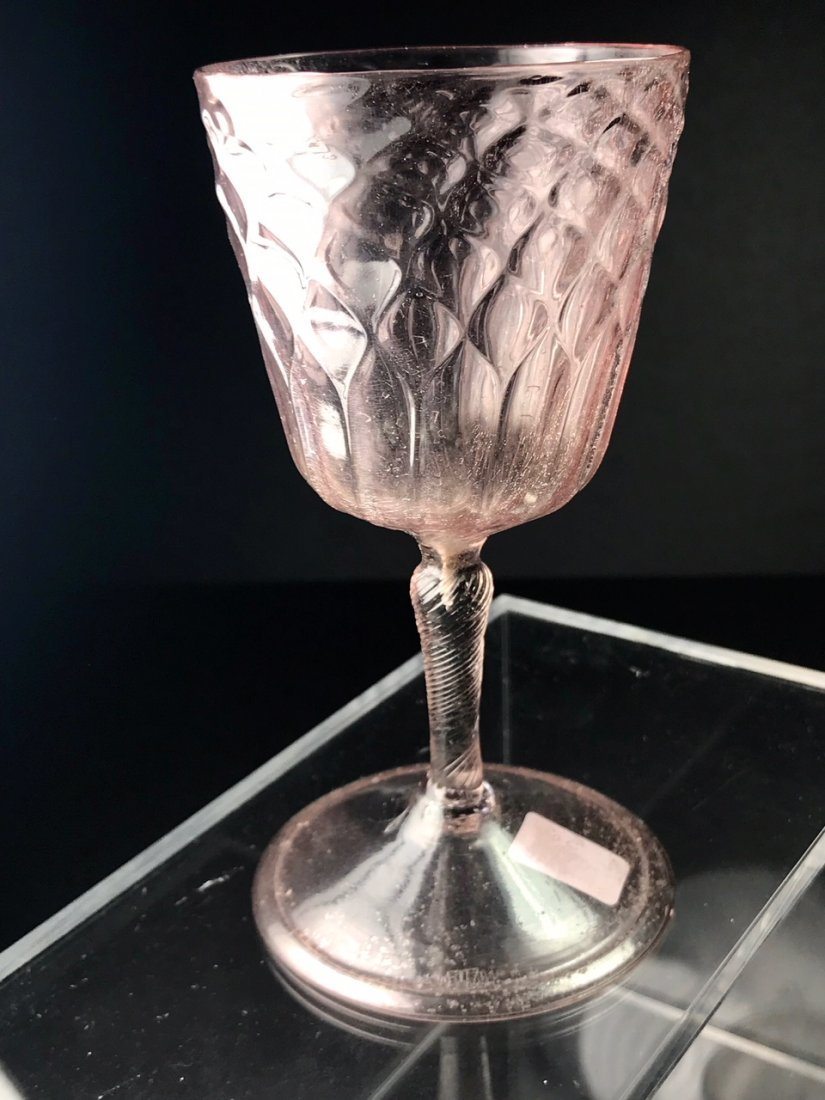 RARE 17TH CENTURY DIAMOND OVER FLUTES WINE GLASS